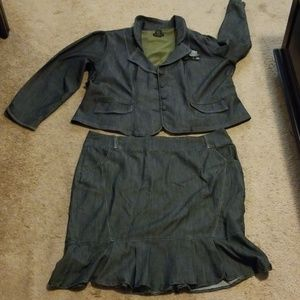 NWOT Ashley Stewart  Denim Look Skirt Suit